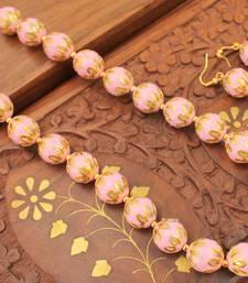 Buy BEAUTIFUL HANDMADE PINK MEENAKARI BALLS NECKLACE SET-DJ05264 south-indian-jewellery online
