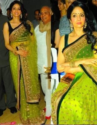Sridevi Net Sequins work Bollywood Style Saree