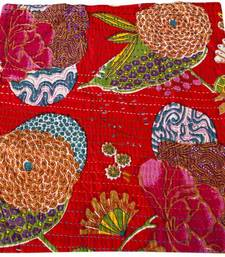 Buy Kantha Cushion cover with flower work pillow-cover online