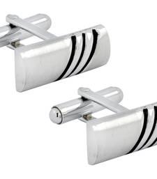 Buy Black Stripes Matte Rhodium Plated High Quality Brass Enamel Cufflink Pair for Men cufflink online