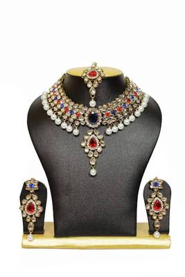 Prime Chocker Kundan Necklace Set with Pearls