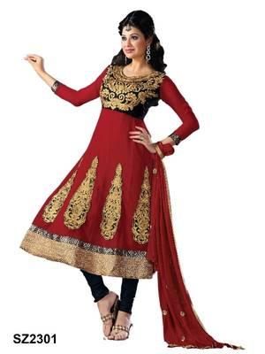 Riti Riwaz Red Georgette Designer Embroidered Anarkali Style Salwar Suit - SZ2301