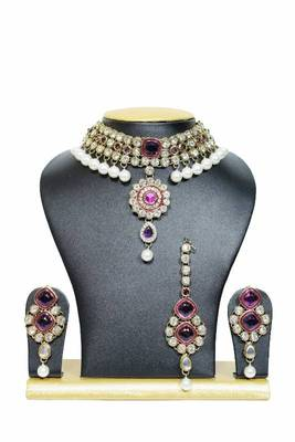 New Close Neck Kundan Jewelry Set in Purple with Pearls