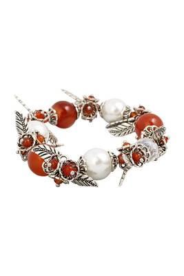 Just Women Genuine  Carnelian Streched Charm  Bracelet