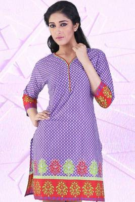 Lavender Violet and Off-white Cotton Printed Casual and Party Kurti
