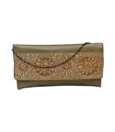 Buy Raw Silk Clutch with Royal Gold Motif Work (Gold) eid-bag online