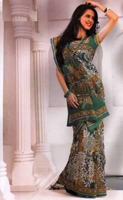 Saree Cambric Cotton Designer Prints With Blouse Piece D.No D1047
