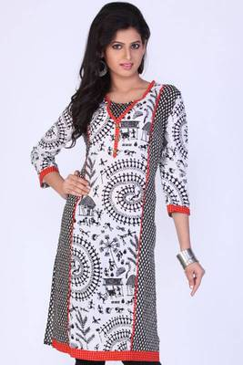 Black and Off-white Cotton Printed Casual and Party Kurti