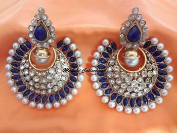 Beautiful Blue Stone & Pearl Studded Earrings