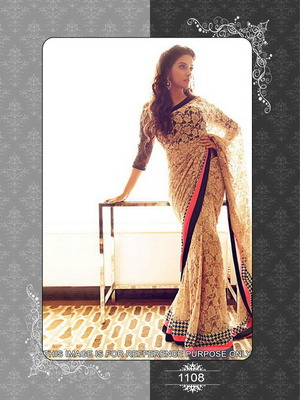 Asin in Chikankari beige net saree