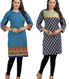 Buy Multicolor printed poly crepe stitched kurti combo-kurti online