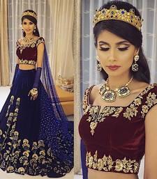 Buy Blue embroidered velvet unstitched bridal-lehengas bridal-lehenga online