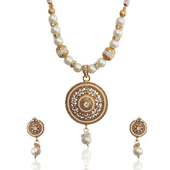 Ethnic Indian Jewelry Bollywood Circle Pearl Polki Glowing Necklace Set tds d8