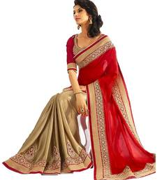 Buy Red embroidered faux georgette saree with blouse georgette-saree online