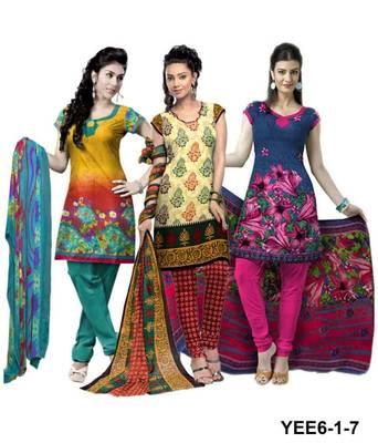Riti Riwaz yellow-beige-blue printed dress material with dupatta YEE6-1-7
