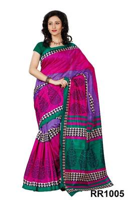 Riti Riwaz pink art silk saree with unstitched blouse RR1005