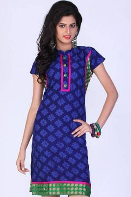 Sapphire Blue Cotton Embroidered Party and Festival Kurti