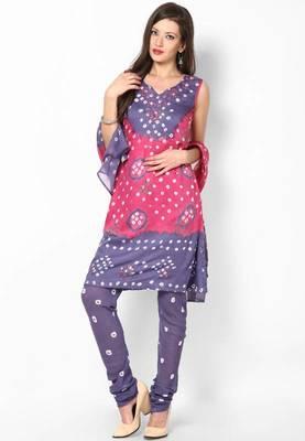 Pink Grey Cotton Unstitched Salwar Suit Material