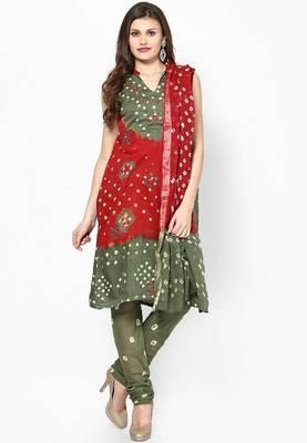 Beautiful Red Green Cotton Bandhej Dress Material
