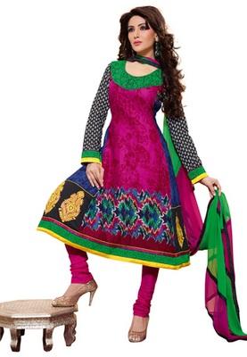 CottonBazaar Magenta Colored Pure Cotton Semi-Stitched Salwar Suit