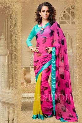 Charming Pink Georgette Printed Saree