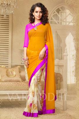 Orange and Off-White Coloured Georgette Saree