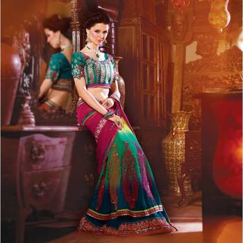 Pink/Green Embroidered Georgette Lehenga Saree with Blouse - 2108