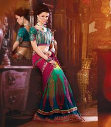 Buy Pink/Green Embroidered Georgette Lehenga Saree with Blouse - 2108 georgette-saree online
