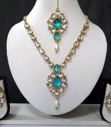 Buy White Drop Sky Blue Stone Necklace Set necklace-set online