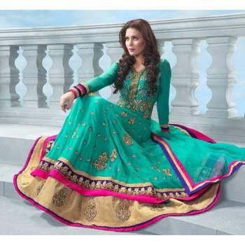 Glamorous Rama Green Georgette Salwar Kameez-SUKHW7003