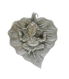 Buy eCraftIndia Lord Ganesha on Leaf sculpture online
