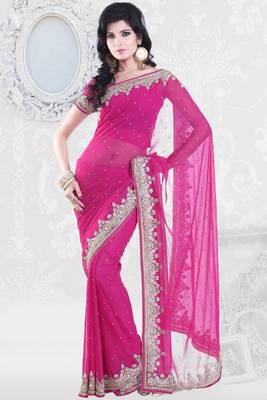 Deep Pink Faux Georgette Embroidered Party and Festival Saree