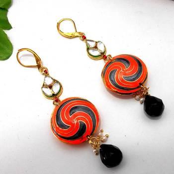 Meenakari Pendant Kundan Leaf Earring Orange Black