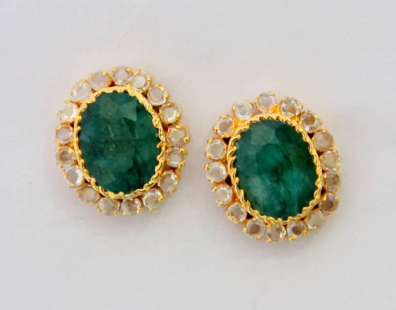 Buy Beautiful Emrald Green N Polki Stone Studded Tops From