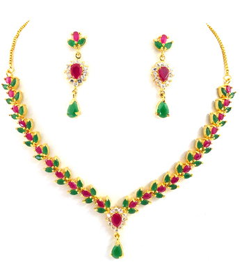 Ruby Emerald AD Necklace Set