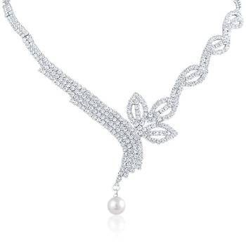 Oviya Rhodium Plated Enticing Bloom Pendant set with Crystal Stones