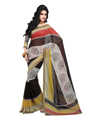 Triveni Trendy Nature Inspired Faux Georgette Indian Designer Saree TSVF9805