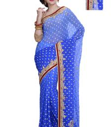 Buy Blue embroidered brasso saree with blouse ethnic-saree online