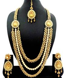 Buy three liner golden stone long bridal necklace set with maang tikka black-friday-deal-sale online