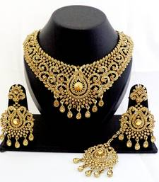 Buy Designer golden stone wedding necklace set with maang tikka pakistani-jewellery online