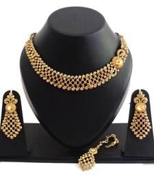 Buy Designer golden stone necklace set with maang tikka black-friday-deal-sale online
