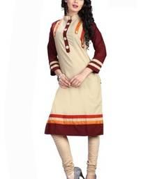 Buy Cream cotton semi stitched fancy kurti long-kurti online
