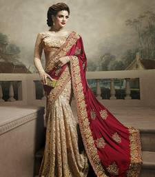 Buy Beige embroidered net saree with blouse net-saree online