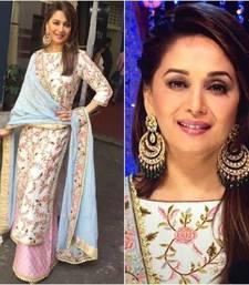 Buy White  art silk thread work semi stitched salwar with dupatta party-wear-salwar-kameez online