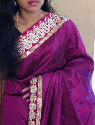 Purple & Blue bridal half and half saree