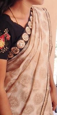 Retro offwhite and black banaras georgette saree