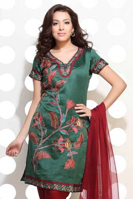 Bottle Green Handloom Silk embroidered suit