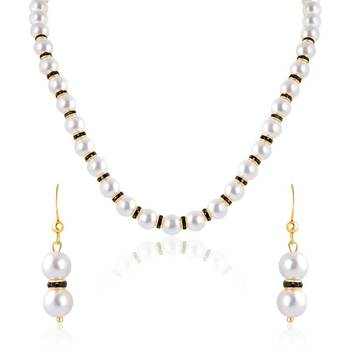 Oviya Gold Plated Romantic Eve Pendant set with Pearl Stone