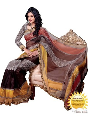 Triveni Appealing Monochrome Patterned Printed Indian Designer Saree TSVF9708