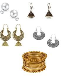 Buy Designer Bangle Jhumki Hoop Stud Earrings Combo pack of 5 set bangles-and-bracelet online